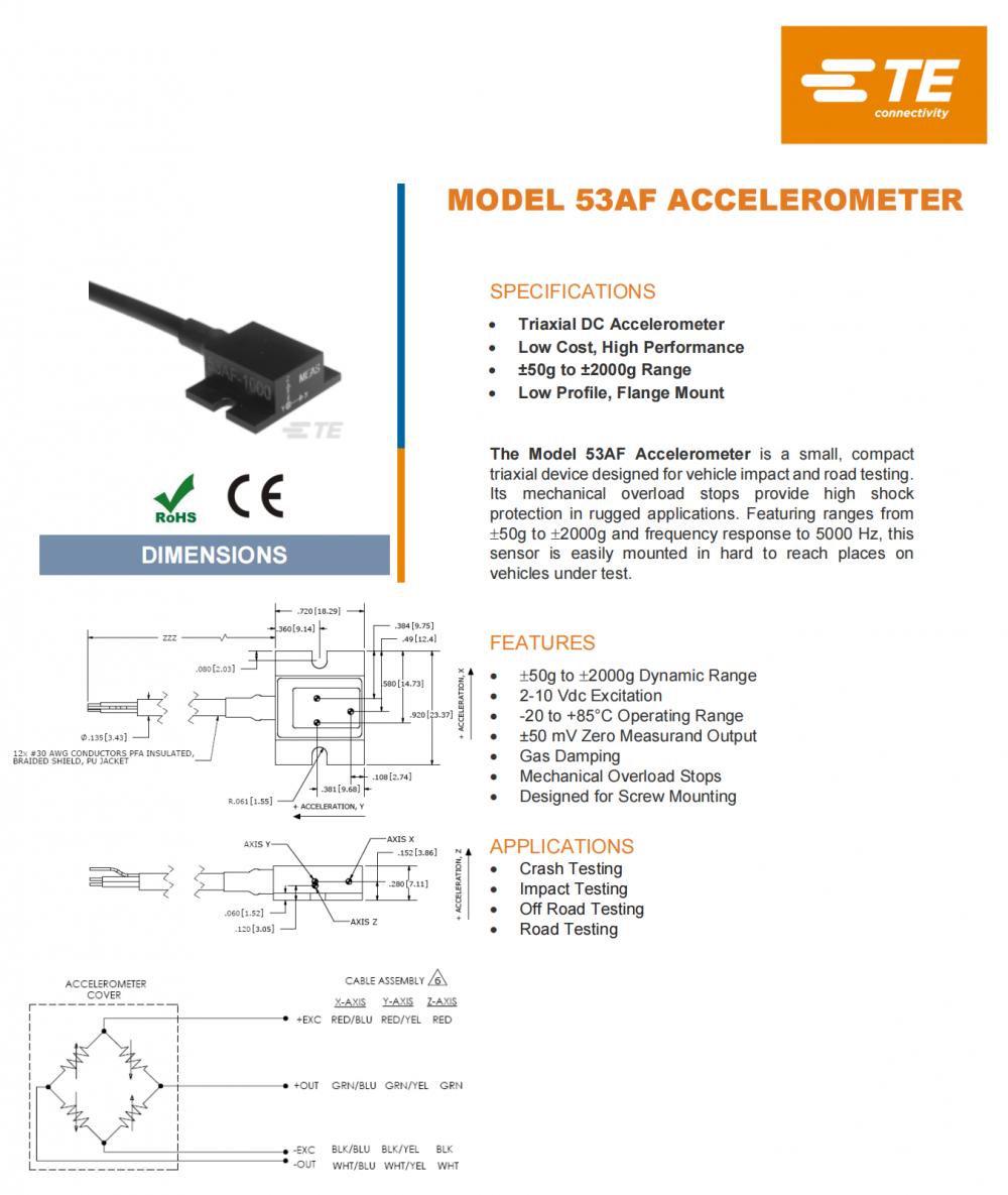 供应美国MEAS53AF三轴法兰安装型测试加速度传感器