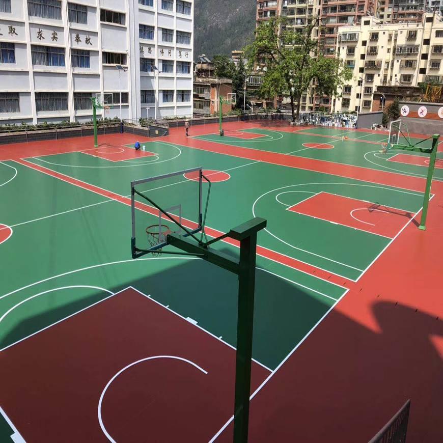 揭阳塑胶篮球场,揭阳塑胶篮球场翻新图片