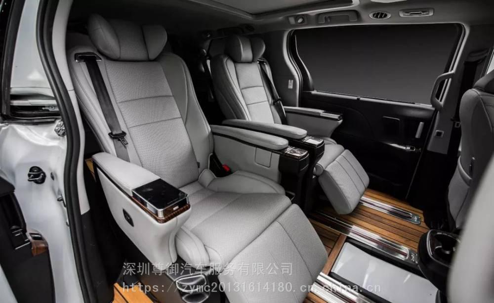 深圳塞纳改装高配航空座椅木地板全车真皮包覆隔音升级