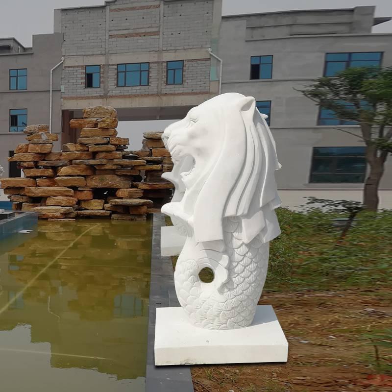 石雕魚尾獅漢白玉水池景觀吐水獅頭魚尾動物流水噴泉雕塑擺件曲陽萬洋雕刻廠家定做
