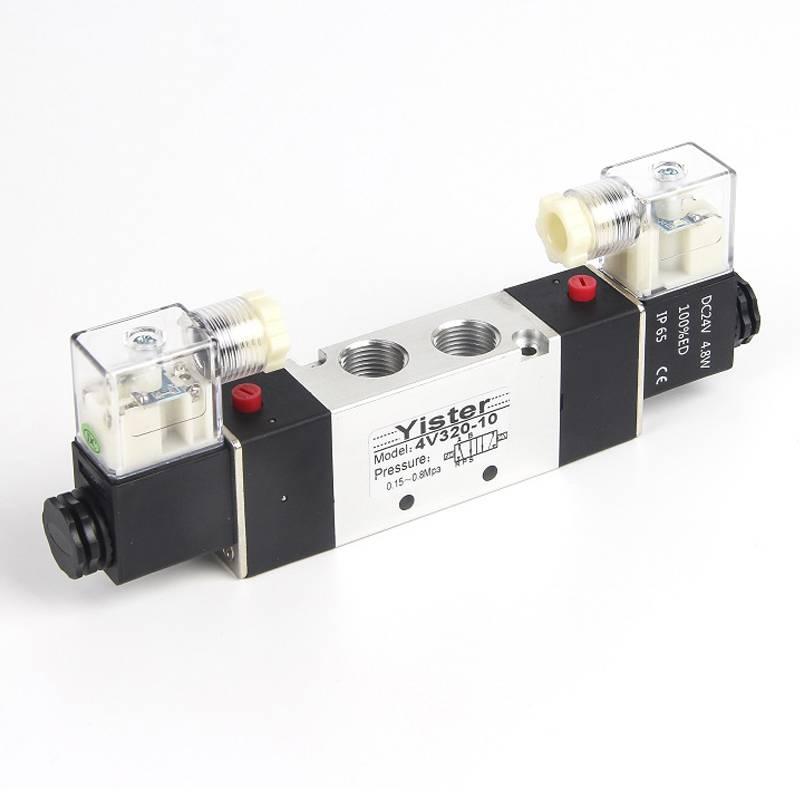 4V320-10二位五通双线圈电磁阀