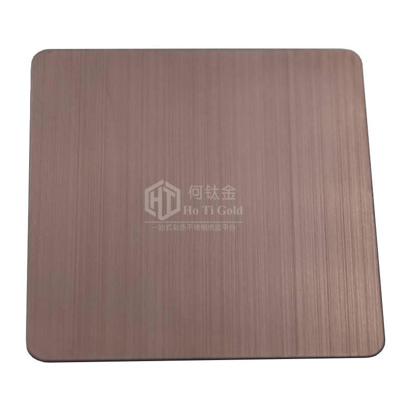不锈钢无指纹青铜拉丝板 拉丝青铜色 不锈钢彩色板拉丝销售价格 佛山何钛金不锈钢