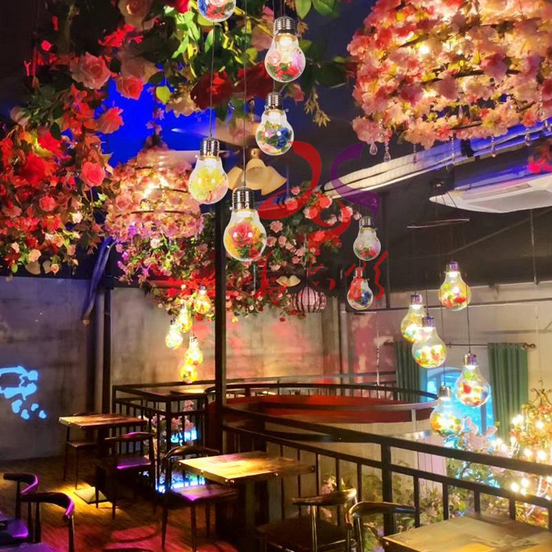 音乐餐厅花灯灯泡胡桃里绿植物吊灯酒吧咖啡厅网红奶茶店酒馆灯具