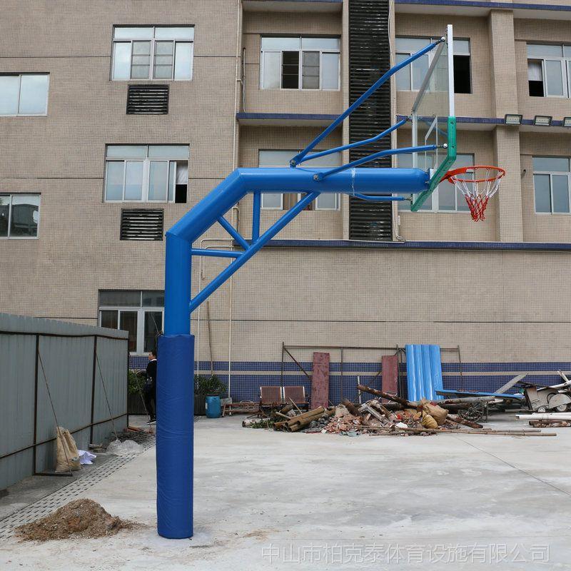 广东体育器材篮球架厂家 篮球架标准高度 柏克移动球架配置钢化玻璃板价格低