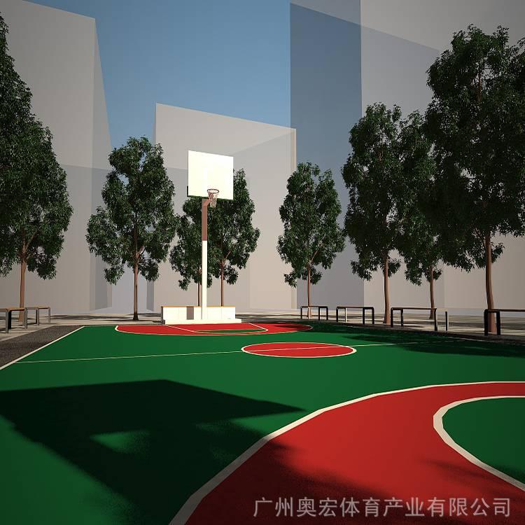 篮球场翻新,pu篮球场施工图片