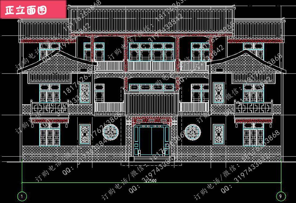 新农村三层自建中式四合院楼房设计图别墅图纸图片