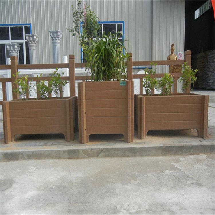 中达建材厂家供应景观水泥仿木花箱 混凝土仿木种植花箱