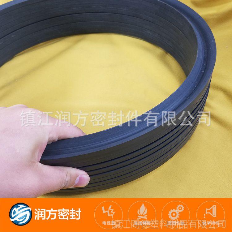 大规格聚四氟乙烯V型密封圈 填充增强了碳纤维 机械性能好 更耐磨