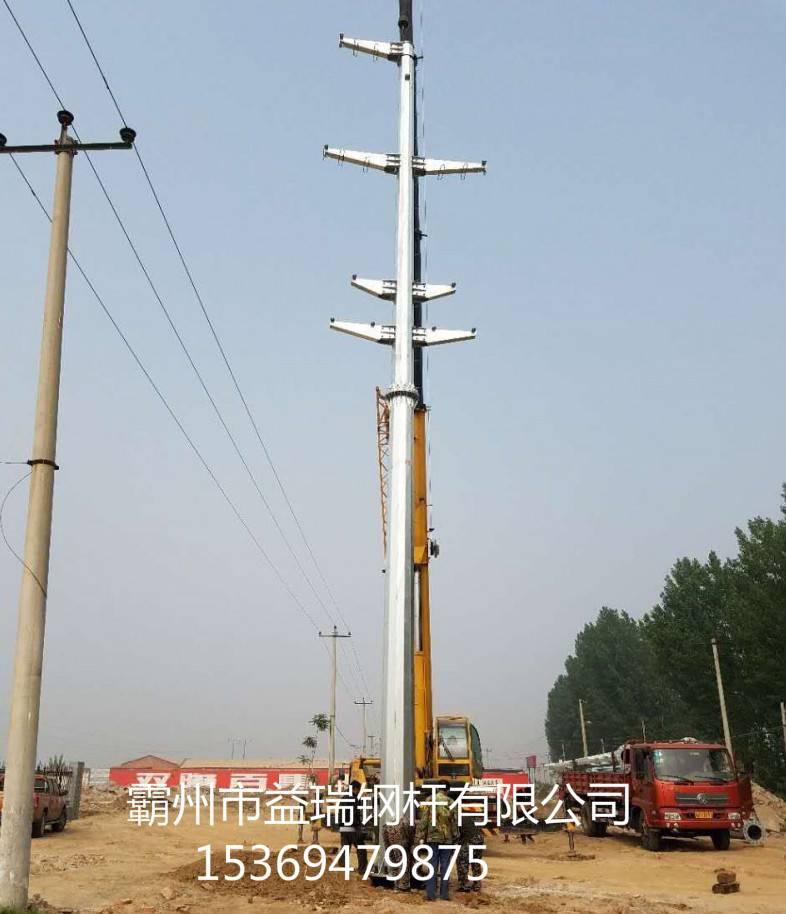 普洱市30米单回路直线钢管杆 耐张90度转角钢管杆