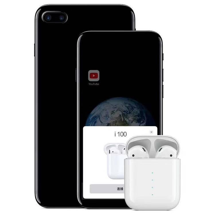 新款i100-tws-5.0蓝牙耳机触摸弹窗无线充功能主从切换双边通话-原厂直销
