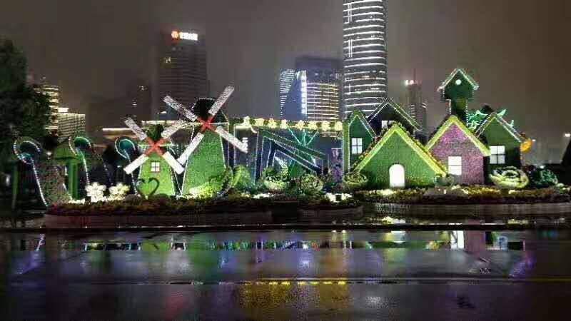 陜西渭南廣場花雕造型五色草綠雕定制