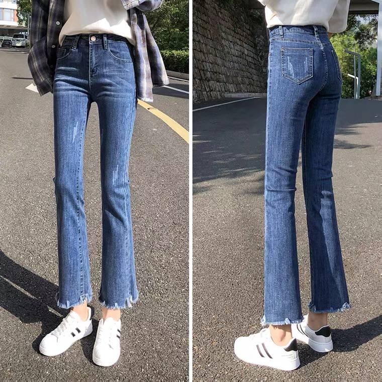 夏季牛仔長褲女韓版新款破洞女裝牛仔褲外貿庫存尾貨牛仔褲批發