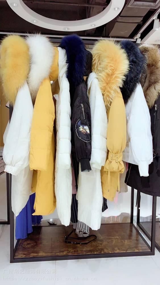 欧美风多种款式西树影黛羽绒服19年新款冬装品牌女装折扣批发走份货源专柜***尾货货源