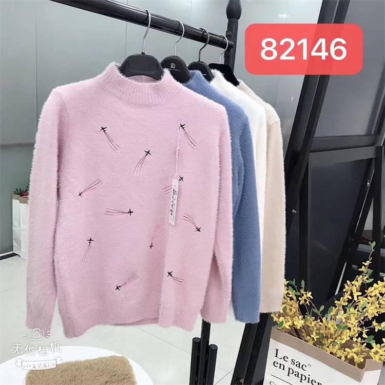 新密女裝服裝批發 2019秋冬季修身半高領仿水貂絨毛衣女套頭