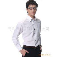 生产加工男士修身英伦风格衬衣衬衫 双领 拼领 拼袖 现货职业装