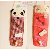 可爱韩国 格子熊猫 波点猫咪 布艺公仔 门挂式毛绒三格收纳袋挂袋