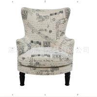出口家具 欧式美式地中海布艺沙发椅复古单人扶手沙发宫庭式沙发