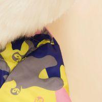 韩版2014新款秋装女装连帽毛领迷彩厚外套棉衣棉服