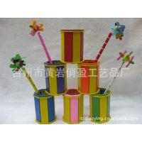 供应卡通木制笔筒/文具礼品/圆形笔筒/木制儿童笔筒