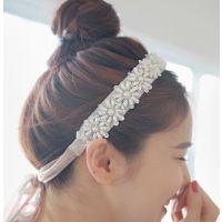 小额饰品批发韩国东大门雪纺丝带珍珠花朵发箍发饰发带新娘发箍