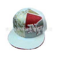 新款街舞帽滑板帽子潮人棒球帽男女平沿帽刺绣字母花朵印花平板帽
