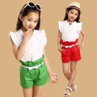 女童全棉小飞袖短裤两件套 糖果色韩版童装中大童套装2014新款潮