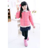 供应厂家直销2014年冬季热销儿童蕾丝花边羽绒服
