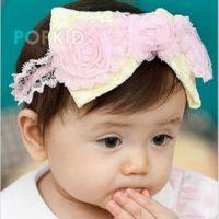 三朵花蝴蝶结发带 韩版宝宝发饰 儿童发带 蕾丝公主头带 发箍