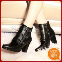 欧美大牌高跟真皮尖头短靴韩版粗高跟马丁靴皮带空明星同款靴子