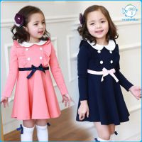 外贸纯棉儿童公主裙 韩国原单女童长袖连衣裙 可爱小飞袖翻领童裙