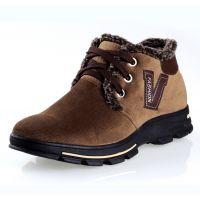 2013冬季爆款V字牛仔布男鞋 翻毛口鞋带绳保暖鞋中帮男士雪地鞋
