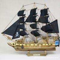 益琪 地中海风格海盗船 黑珍珠号帆船模型 实木家居摆设 H50-087
