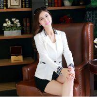 2014新款秋装修身韩版千鸟格小西装 女装长袖修身小外套