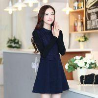 2014新款秋冬女装 修身显瘦韩版大码长袖大摆型毛呢连衣裙8323