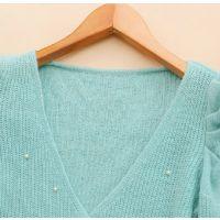 韩版2014新款秋装女装V领钉珠泡泡长袖针织开衫