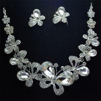 新娘饰品 三件套蝴蝶水钻皇冠结婚项链水晶套装珍珠婚纱配饰