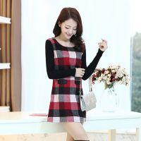 东大门女装一件代发2014秋冬新款韩版针织长袖格子毛呢连衣裙打底