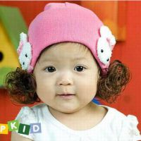 小小白兔假发 儿童帽 套头帽 针织帽 宝宝帽批发