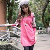 韩版女装长款孔雀花泡泡袖 毛衣外套 大码V领 针织毛衣 连衣裙