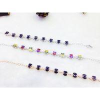 供应新款S925纯银碧玺系列款式采用珠宝级工艺制作多种颜色手链批发