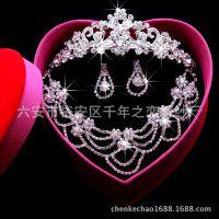 批发韩式水晶钻新娘饰品首饰结婚项链耳环三件套装皇冠头饰婚纱配