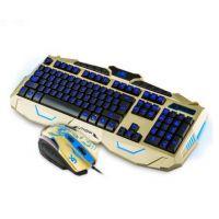***优想 V-100 土豪金色 游戏有线背光鼠标键盘套装 全英文包装