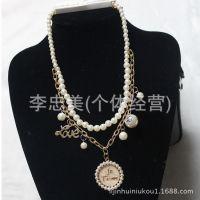新款欧美风格 短款项链毛衣链 ***合金珍珠锁骨链 项饰