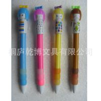 【厂家直销】多彩陶瓷娃娃外形卡通笔 中性笔 广告logo促销笔批发