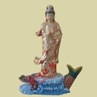 厂家批发树脂玻璃钢佛像神像贴金彩站观音菩萨