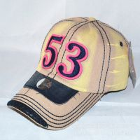 Hard Caps欧美风格刺绣拼接贴布数字53水洗棒球帽户外运动遮阳帽