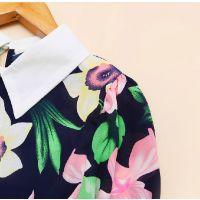 韩版2014新款秋装女装翻领印花百搭长袖雪纺衬衫