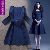 明星同款2014秋季韩版新品牛仔女长袖连衣裙弹力牛仔裙高腰修身DF
