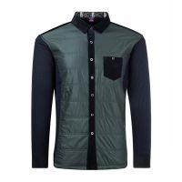 秋冬新款中老年男士长袖羽绒保暖衬衫 男加绒加厚立领拼接衬衣 真口袋