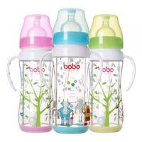 bobo乐儿宝安全玻璃奶瓶带柄带吸管宽口奶瓶变流220ml  0.31kg